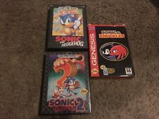 SONIC THE HEDGEHOG 1 & 2 & SONIC/KNUCKLES, SEGA GENESIS, 3 GAMES, WITH CASES