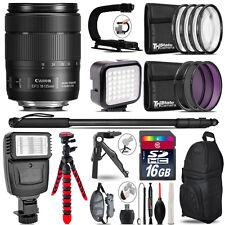 Canon 18-135mm IS USM -Video Kit + Slave Flash + Monopad - 16GB Accessory Bundle