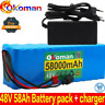 Lithium 48v 58ah Ebike Battery 1000w For Pack High Power + Charger Ion Electric