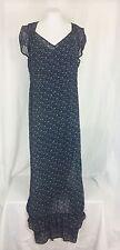 American Rag Long Ruffled Dress Chiffon Blue Large Short Cap Sleeve Lined
