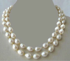 HUGE 10-12MM SOUTH SEA WHITE PEARL NECKLACE 35 INCH JN1048
