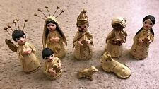 Vintage Mexican Christmas Nativity Set 8 Pieces Hand Painted Beige & Gold