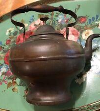 Antique Vintage Copper Goose Neck Wood Top Handle Tea Kettle