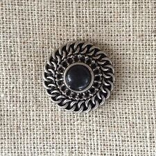 Noosa style chunk snap for leather bracelet -antique silver circle black glass