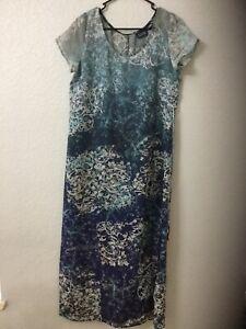 Hillard & Hanson Womens Sheer Tie Back Shift Dress Size 10 Blue /Ivory/Gray