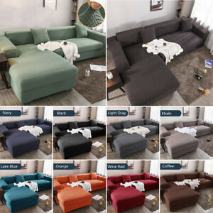 L Shaped Sofa Cover Jacquard Fabric Slipcovers Stretch Sectional Couch Covers