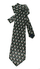 Necktie Black Colour STORKS by Charlize of Italy Novelty TIE 100% Myung Ju SILK