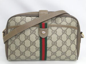 Auth GUCCI Old Gucci Shoulder Bag Sherry Line Beige Italy $0 Ship 74180008600 P