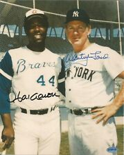 HANK AARON & WHITEY FORD AUTOGRAPHED 8X10 PHOTO BRAVES, YANKEES