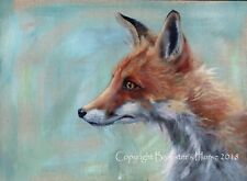 "FOX, ORIGINAL WILDLIFE PAINTING, 16"" x 12"" ACRYLIC ON LINEN BOARD, ART, ANIMALS"