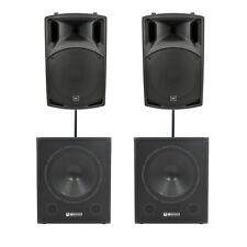 QTX Sound QX15A Active Speakers PAIR & QT15SA Powered Subs PAIR & Poles & Leads