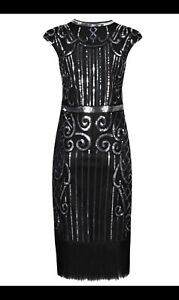 Black Size 14 Great Gatsby 1920's Peaky Blinders Cocktail Party Flapper Dress