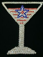 MEMORIAL INDEPENDENCE USA FLAG STAR COCKTAIL MARTINI GLASS PIN BROOCH JEWELRY