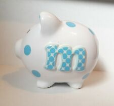 White Coin Piggy Bank with Blue Polka Dots