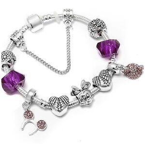 Mickie mouse purple/silver 20 cm charm bracelet