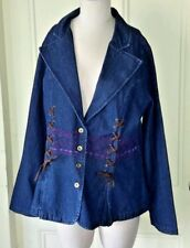 The Pyramid Collection Lace Button Up Embroidered Denim Jean Jacket Womens sz XL