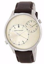 New ARMANI EXCHANGE Men's Hampton Dual Time Leather Strap Watch AX2175