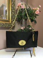 Coach Amanda Black Satin Foldover Flap Evening Bag Clutch F12926 B12