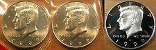 1999 P D S Kennedy Half Dollar 1-D 1-P BU Mint Set Coins 1-S Clad Proof Coin
