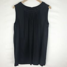 St. John Size Large Black Pleated Sleeveless Top Blouse