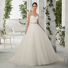 Plunging Ball Gown/Duchess Cap Sleeve Wedding Dresses