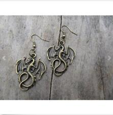 Gothic metal bronze dragon charm earrings