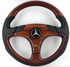 Genuine OBA wood leather rim 350mm car steering wheel. Mercedes C E S G Class.