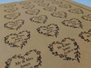 Personalised Heart shaped Kraft Shabby Chic Wedding Stickers