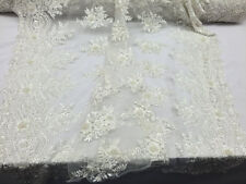 Luxurious & sophisticated bridal wedding heavy beaded mesh lace fabric ivory.1YD