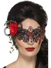 Black Day of the Dead Metal Filigree Adult Eye Mask