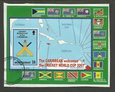 MONTSERRAT 2007 ICC CRICKET WORLD CUP FLAGS MAP Souvenir Sheet FINE USED