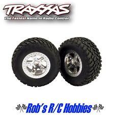 TRAXXAS Rear Tires & Satin Chrome Wheels (2):Slash (TRA5873)