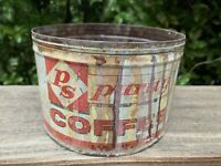 """VTG Purity Coffee Can Tin 1lb Empty Container Rusty Inside & Out 3""""Hx 4 7/8""""W"""