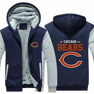 Chicago Bears Fans Hoodie Fleece zip up Coat winter Jacket warm Sweatshirt
