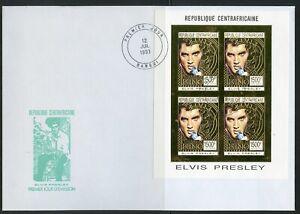 CENTRAL AFRICA 1993 ELVIS PRESLEY GOLD FOIL IMPERF SHEET ON FIRST DAY COVER