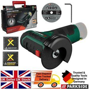 Parkside 12V Cordless Angle Grinder + 76mm Cutting Disc & 1 Hex Key - Bare Unit