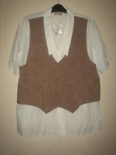 NEW ) A DESIGNER ESSENCE ALL IN ONE WHITE AND BROWN TOP SIZE 22  BUTTON FASTENER