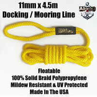 Docking Braid Dock Rope 11mm x 4.57m / 15ft Polyproplylene Mooring Line Yellow!