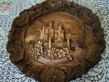 "Vintage German Hand Carved Wood Resin 3D  8"" Wall Plaque Neuschwanstein"