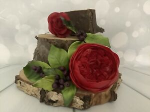 Single Red David Austin Style Rose With Berry's Cake Decoration Cake Topper