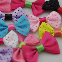 20pcs Mix Dots Satin Ribbon Bows Flowers DIY Crafts Wedding Appliques E89