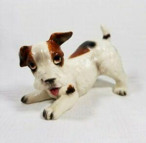 """Vintage Wire Fox Terrier Puppy Dog Figurine 4.25""""l Ceramic"""