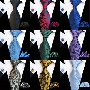 Men Business Floral Paisley Necktie Handkerchief Cufflinks Pocket Square Set