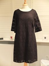 BNWT MONSOON BLACK LACE EFFECT DRESS PARTY/EVENING/WEDDING/CHRISTMAS SIZE 16