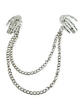Lapel Necklace Collar Chain Neck Tip Silver Pin Chain Tassels Bone Hands Jewelry