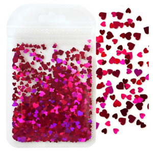 Heart Flakes Shape Pink Holographic Nail Art Glitter Sequins Decorations Of Love