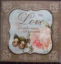 Shabby Chic Wooden Plaque- The Love of Family.......Blue