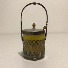 Vintage Glass Jam/Honey Pot in a Decorative Silver Holder with Spoon #460
