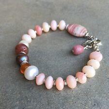 U&C Sundance Pink Opal, Pearl Carnelian Lepidolite Rhodochrosite Silver Bracelet