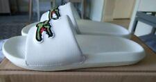 NEW Mens White rubber Lacoste Croco Slide Sliders Sandals flip-flops Uk8 EU42